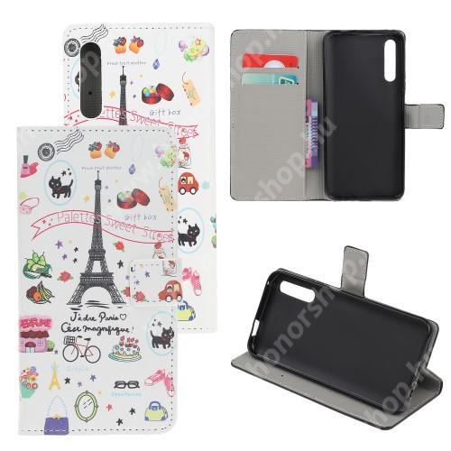 HUAWEI Honor 9X (For China market)Notesz tok / flip tok - EIFFEL TORONY MINTÁS - asztali tartó funkciós, oldalra nyíló, rejtett mágneses záródás, bankkártyatartó zseb, szilikon belső - HUAWEI P smart Pro (2019) / HUAWEI Y9s / Honor 9X (For China market) / Honor 9X Pro (For China)