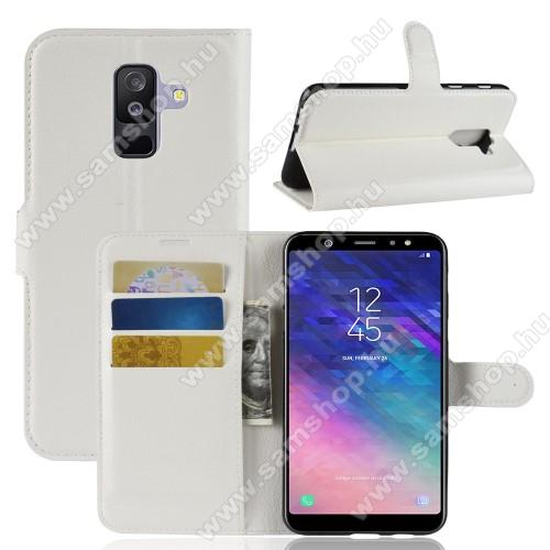 Notesz tok / flip tok - FEHÉR - asztali tartó funkciós, oldalra nyíló, rejtett mágneses záródás, bankkártyatartó zseb, szilikon belső - SAMSUNG SM-A605G Galaxy A6 Plus (2018)