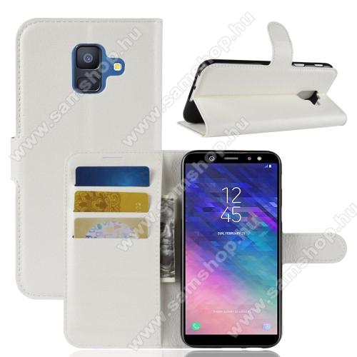 Notesz tok / flip tok - FEHÉR - asztali tartó funkciós, oldalra nyíló, rejtett mágneses záródás, bankkártyatartó zseb, szilikon belső - SAMSUNG SM-A600F Galaxy A6 (2018)