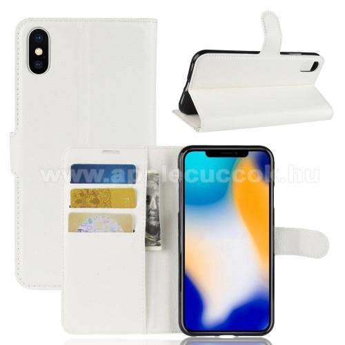 Notesz tok / flip tok - FEHÉR - asztali tartó funkciós, oldalra nyíló, rejtett mágneses záródás, bankkártyatartó zseb, szilikon belső - APPLE iPhone XS Max