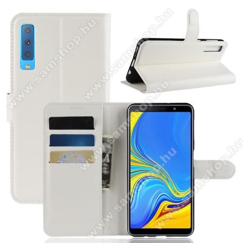 Notesz tok / flip tok - FEHÉR - asztali tartó funkciós, oldalra nyíló, rejtett mágneses záródás, bankkártyatartó zseb, szilikon belső - SAMSUNG SM-A750F Galaxy A7 (2018)