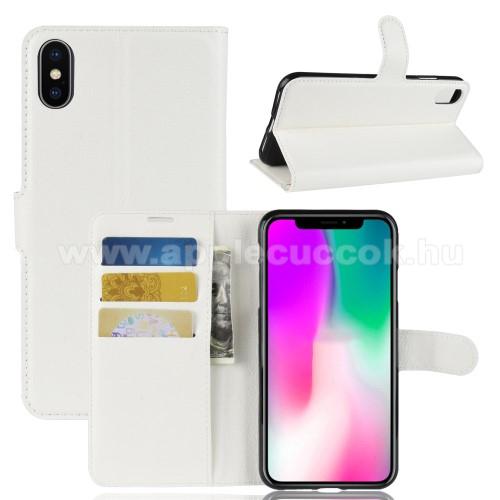 Notesz tok / flip tok - FEHÉR - asztali tartó funkciós, oldalra nyíló, rejtett mágneses záródás, bankkártyatartó zseb, szilikon belső - APPLE iPhone Xr