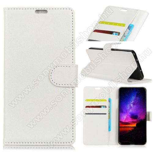 Notesz tok / flip tok - FEHÉR - asztali tartó funkciós, oldalra nyíló, rejtett mágneses záródás, bankkártyatartó zseb, szilikon belső - SONY Xperia XA3