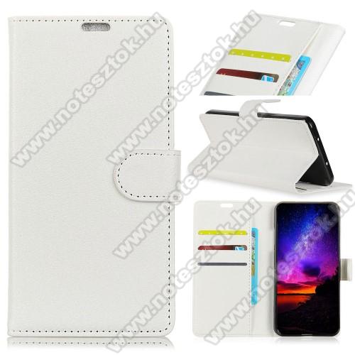 Notesz tok / flip tok - FEHÉR - asztali tartó funkciós, oldalra nyíló, rejtett mágneses záródás, bankkártyatartó zseb, szilikon belső - HUAWEI Mate 20