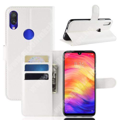 Notesz tok / flip tok - FEHÉR - asztali tartó funkciós, oldalra nyíló, rejtett mágneses záródás, bankkártyatartó zseb, szilikon belső - Xiaomi Redmi Note 7 / Xiaomi Redmi Note 7 Pro