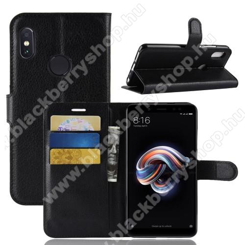 Notesz tok / flip tok - FEKETE - asztali tartó funkciós, oldalra nyíló, rejtett mágneses záródás, bankkártyatartó zseb, szilikon belső - Xiaomi Redmi Note 5 Pro (Global version)