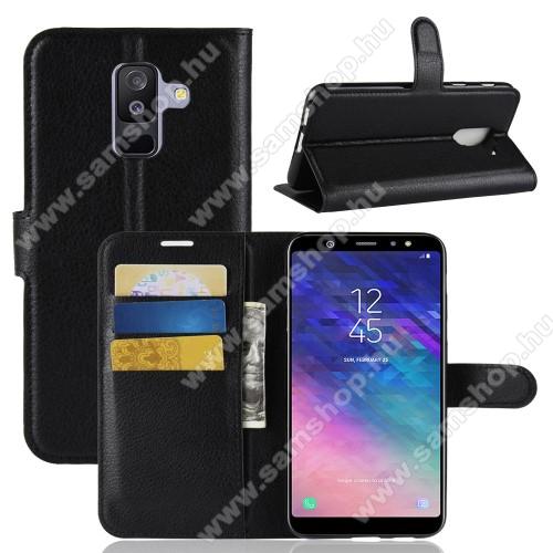 SAMSUNG SM-A605G Galaxy A6 Plus (2018)Notesz tok / flip tok - FEKETE - asztali tartó funkciós, oldalra nyíló, rejtett mágneses záródás, bankkártyatartó zseb, szilikon belső - SAMSUNG SM-A605G Galaxy A6 Plus (2018)