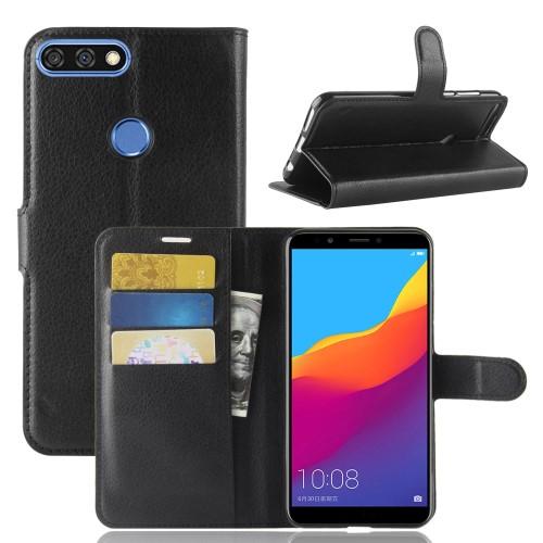 Notesz tok / flip tok - FEKETE - asztali tartó funkciós, oldalra nyíló, rejtett mágneses záródás, bankkártyatartó zseb, szilikon belső - HUAWEI Honor 7C (2018) / HUAWEI Enjoy 8 (2018) / HUAWEI Y7 Prime (2018)