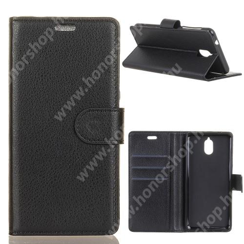Notesz tok / flip tok - FEKETE - asztali tartó funkciós, oldalra nyíló, rejtett mágneses záródás, bankkártyatartó zseb, szilikon belső - NOKIA 3.1
