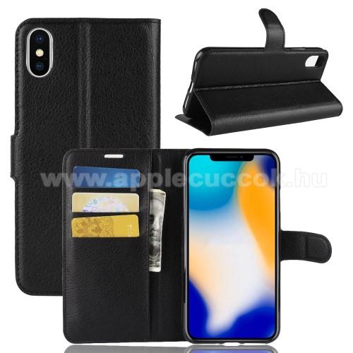 Notesz tok / flip tok - FEKETE - asztali tartó funkciós, oldalra nyíló, rejtett mágneses záródás, bankkártyatartó zseb, szilikon belső - APPLE iPhone XS Max