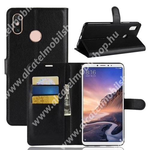 Notesz tok / flip tok - FEKETE - asztali tartó funkciós, oldalra nyíló, rejtett mágneses záródás, bankkártyatartó zseb, szilikon belső - Xiaomi Mi Max 3