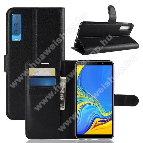 Notesz tok / flip tok - FEKETE - asztali tartó funkciós, oldalra nyíló, rejtett mágneses záródás, bankkártyatartó zseb, szilikon belső - SAMSUNG SM-A750F Galaxy A7 (2018)