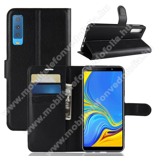 SAMSUNG SM-A750F Galaxy A7 (2018)Notesz tok / flip tok - FEKETE - asztali tartó funkciós, oldalra nyíló, rejtett mágneses záródás, bankkártyatartó zseb, szilikon belső - SAMSUNG SM-A750F Galaxy A7 (2018)