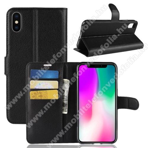 Notesz tok / flip tok - FEKETE - asztali tartó funkciós, oldalra nyíló, rejtett mágneses záródás, bankkártyatartó zseb, szilikon belső - APPLE iPhone Xr