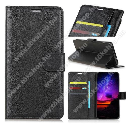 Notesz tok / flip tok - FEKETE - asztali tartó funkciós, oldalra nyíló, rejtett mágneses záródás, bankkártyatartó zseb, szilikon belső - SAMSUNG Galaxy A9 (2018)