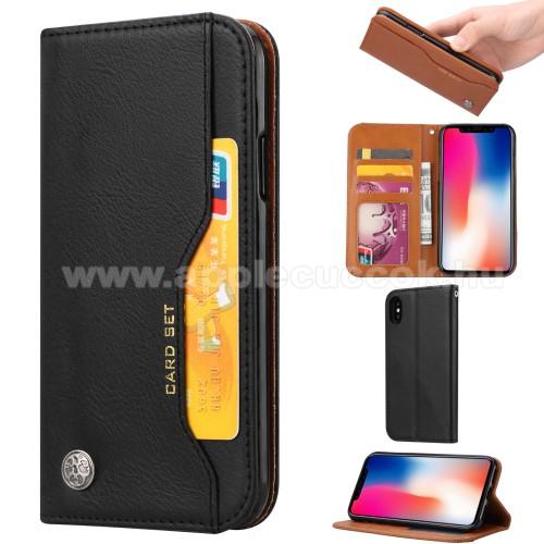 Notesz tok / flip tok - FEKETE - asztali tartó funkciós, oldalra nyíló, rejtett mágneses záródás, bankkártya tartó zsebekkel, szilikon belső - APPLE iPhone X / APPLE iPhone XS
