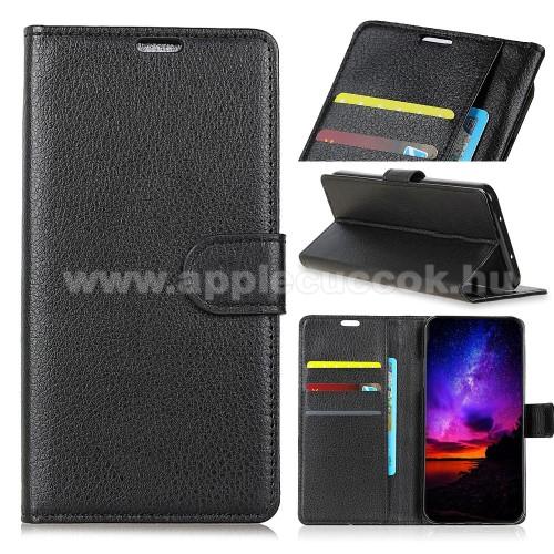 Notesz tok / flip tok - FEKETE - asztali tartó funkciós, oldalra nyíló, rejtett mágneses záródás, bankkártyatartó zseb, szilikon belső - HUAWEI P30 Pro