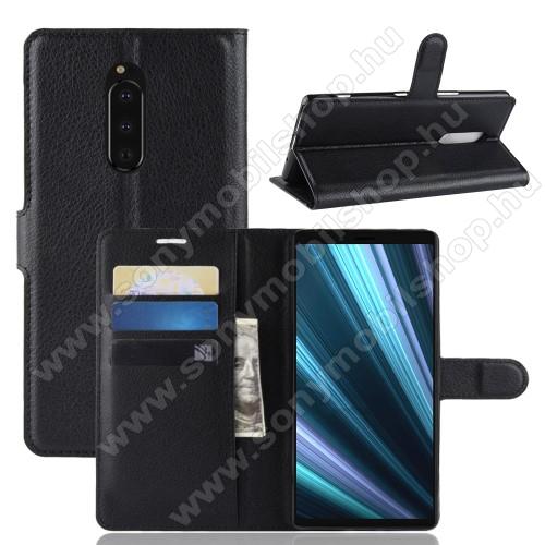 Notesz tok / flip tok - FEKETE - asztali tartó funkciós, oldalra nyíló, rejtett mágneses záródás, bankkártyatartó zseb, szilikon belső - Sony Xperia XZ4