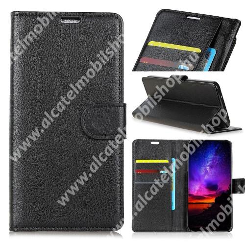 Notesz tok / flip tok - FEKETE - asztali tartó funkciós, oldalra nyíló, rejtett mágneses záródás, bankkártyatartó zseb, szilikon belső - Vodafone Smart E9 / ALCATEL 1