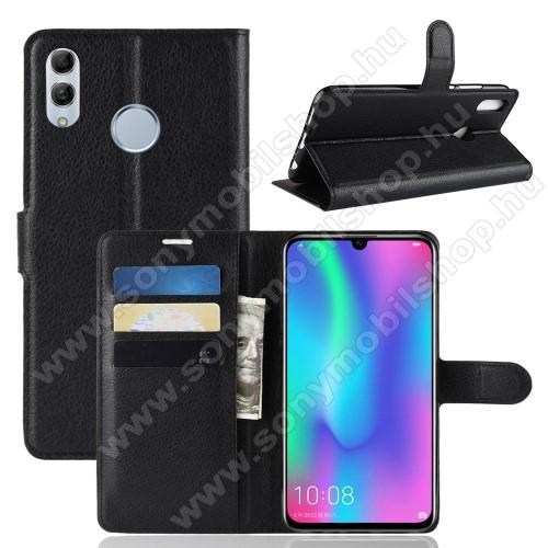 Notesz tok / flip tok - FEKETE - asztali tartó funkciós, oldalra nyíló, rejtett mágneses záródás, bankkártyatartó zseb, szilikon belső - HUAWEI P Smart (2019) / HUAWEI Honor 10 Lite
