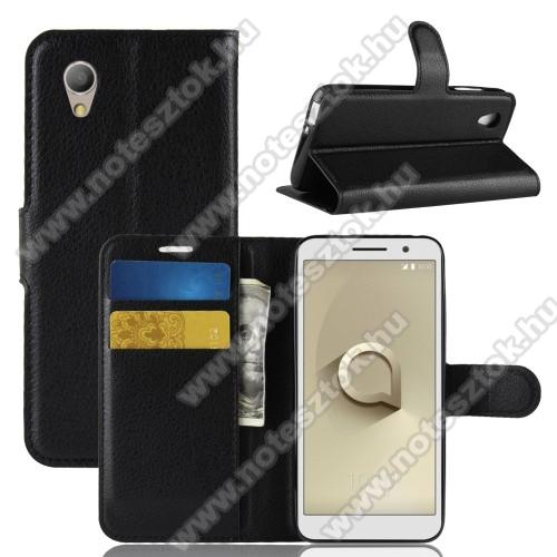 Notesz tok / flip tok - FEKETE - asztali tartó funkciós, oldalra nyíló, rejtett mágneses záródás, bankkártyatartó zseb, szilikon belső - Vodafone Smart E9