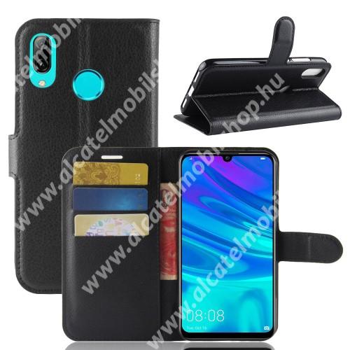 Notesz tok / flip tok - FEKETE - asztali tartó funkciós, oldalra nyíló, rejtett mágneses záródás, bankkártyatartó zseb, szilikon belső - HUAWEI P30 Lite / HUAWEI nova 4e