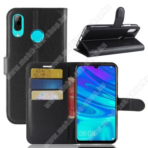 Notesz tok / flip tok - FEKETE - asztali tartó funkciós, oldalra nyíló, rejtett mágneses záródás, bankkártyatartó zseb, szilikon belső - HUAWEI P30 Lite
