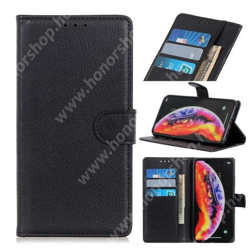Notesz tok / flip tok - FEKETE - asztali tartó funkciós, oldalra nyíló, rejtett mágneses záródás, bankkártyatartó zseb, szilikon belső - SAMSUNG SM-A405F Galaxy A40