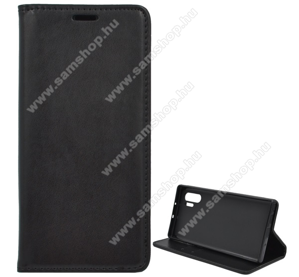 Notesz tok / flip tok - FEKETE - asztali tartó funkciós, oldalra nyíló, szilikon belső - SAMSUNG Galaxy Note10 Plus (SM-N975F) / SAMSUNG Galaxy Note10 Plus 5G (SM-N976F)