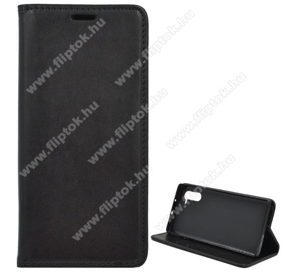 Notesz tok / flip tok - FEKETE - asztali tartó funkciós, oldalra nyíló, szilikon belső - SAMSUNG SM-N970F Galaxy Note10 / SAMSUNG SM-N971U Galaxy Note10 5G