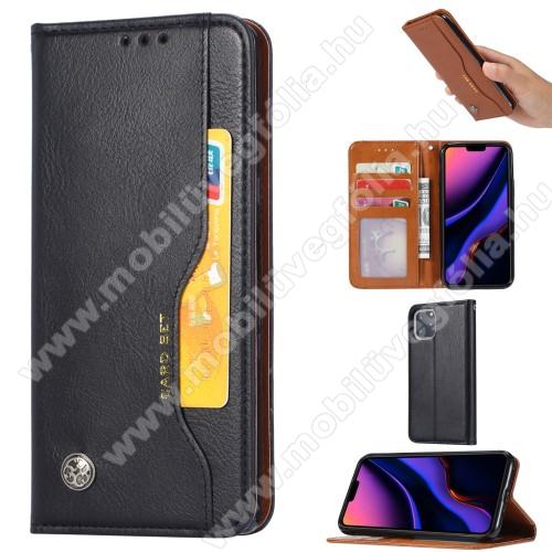 Notesz tok / flip tok - FEKETE - asztali tartó funkciós, oldalra nyíló, rejtett mágneses záródás, bankkártya tartó zsebekkel, szilikon belső - APPLE iPhone 11 Pro