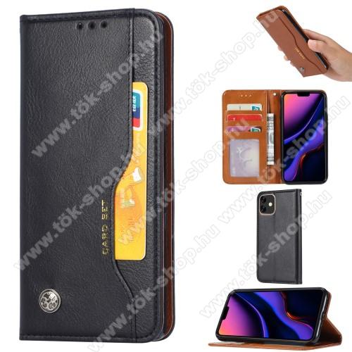 Notesz tok / flip tok - FEKETE - asztali tartó funkciós, oldalra nyíló, rejtett mágneses záródás, bankkártya tartó zsebekkel, szilikon belső - APPLE iPhone 11