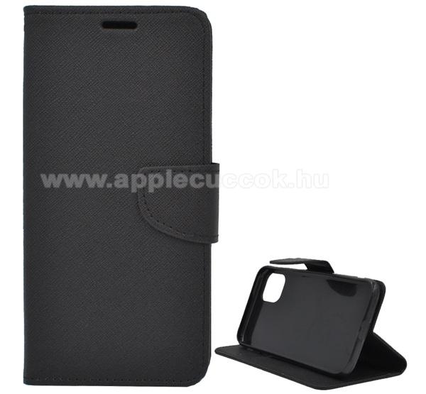 Notesz tok / flip tok - FEKETE - asztali tartó funkciós, oldalra nyíló, rejtett mágneses záródás, bankkártyatartó zseb, szilikon belső, textil minta - APPLE iPhone 11 Pro Max