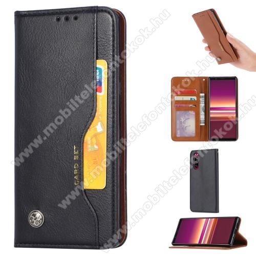 Notesz tok / flip tok - FEKETE - asztali tartó funkciós, oldalra nyíló, rejtett mágneses záródás, bankkártya tartó zsebekkel, szilikon belső - Sony Xperia 5