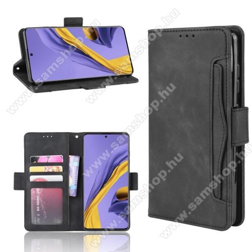 Notesz tok / flip tok - FEKETE - asztali tartó funkciós, oldalra nyíló, rejtett mágneses záródás, bankkártya tartó zsebek, szilikon belső - SAMSUNG Galaxy A51 (SM-A515F)