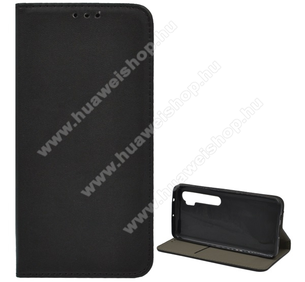 Notesz tok / flip tok - FEKETE - asztali tartó funkciós, oldalra nyíló, rejtett mágneses záródás, szilikon belső - Xiaomi Mi Note 10 / Xiaomi Mi Note 10 Pro / Xiaomi Mi CC9 Pro