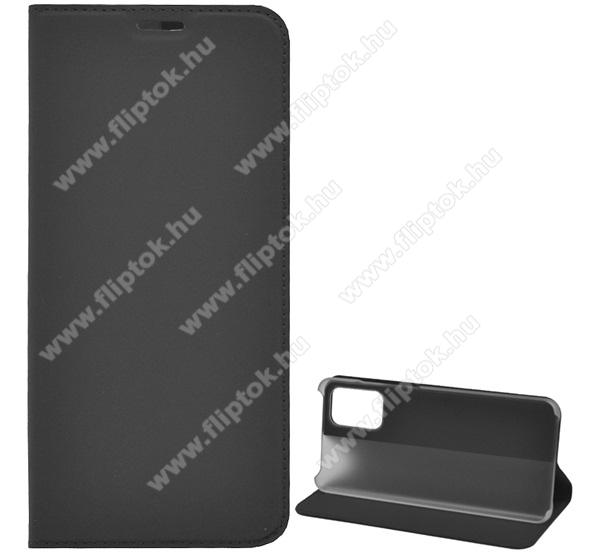 Notesz tok / flip tok - FEKETE - asztali tartó funkciós, oldalra nyíló, műanyag belső - SAMSUNG Galaxy S20 Plus (SM-G985F) / SAMSUNG Galaxy S20 Plus 5G (SM-G986)