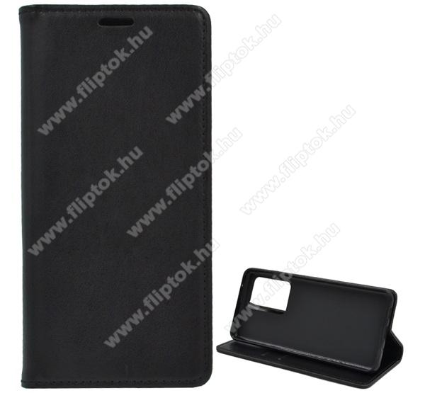 Notesz tok / flip tok - FEKETE - asztali tartó funkciós, oldalra nyíló, szilikon belső - SAMSUNG Galaxy S20 Ultra (SM-G988F) / SAMSUNG Galaxy S20 Ultra 5G (SM-G988)