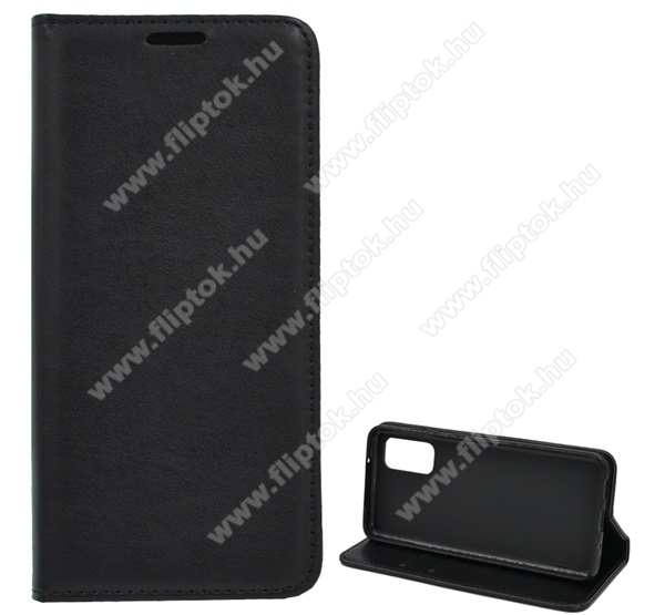 Notesz tok / flip tok - FEKETE - asztali tartó funkciós, oldalra nyíló, szilikon belső - SAMSUNG Galaxy S20 (SM-G980F) / SAMSUNG Galaxy S20 5G (SM-G981)