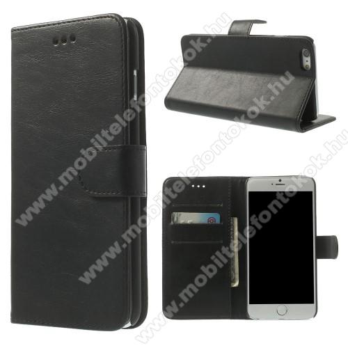 Notesz tok / flip tok - FEKETE - asztali tartó funkciós, oldalra nyíló, rejtett mágneses záródás, bankkártyatartó zseb, szilikon belső - APPLE iPhone 6 Plus / APPLE iPhone 6s Plus