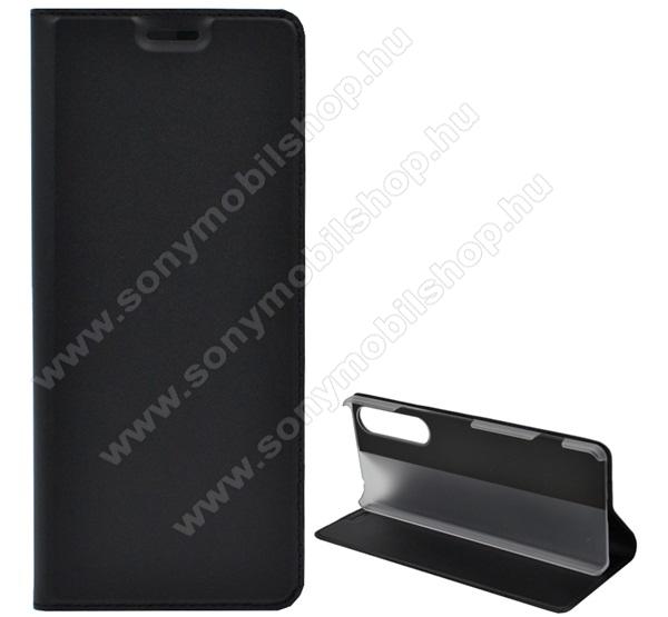Notesz tok / flip tok - FEKETE - asztali tartó funkciós, oldalra nyíló, műanyag belső - SONY Xperia 1 II