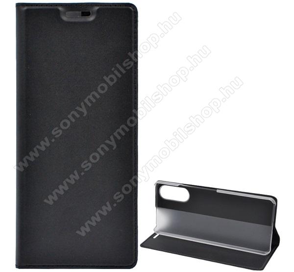 Notesz tok / flip tok - FEKETE - asztali tartó funkciós, oldalra nyíló, műanyag belső - SONY Xperia 10 II