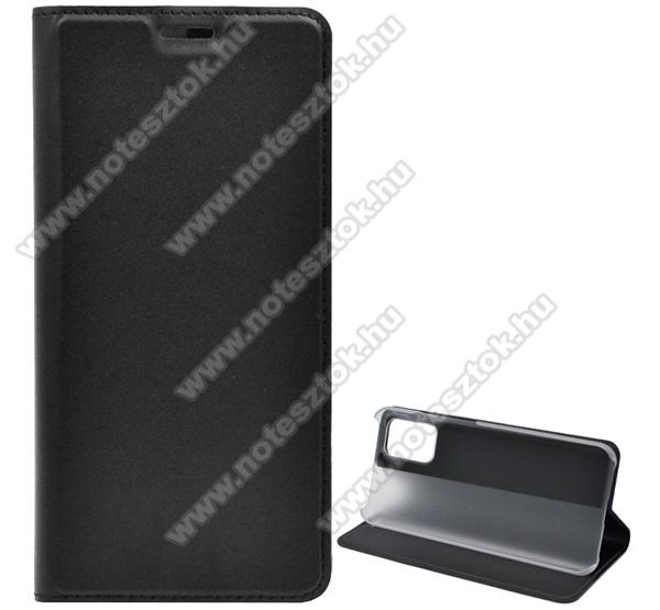 Notesz tok / flip tok - FEKETE - asztali tartó funkciós, oldalra nyíló, műanyag belső - SAMSUNG Galaxy A02s (SM-A025F)