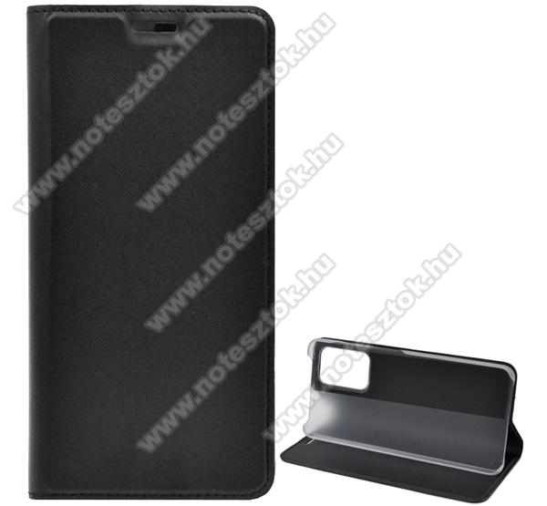 Notesz tok / flip tok - FEKETE - asztali tartó funkciós, oldalra nyíló, műanyag belső - SAMSUNG Galaxy A52 4G (SM-A525F)
