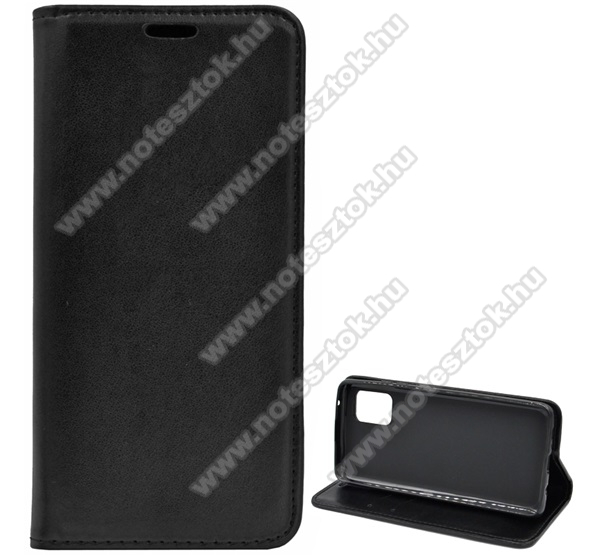 Notesz tok / flip tok - FEKETE - asztali tartó funkciós, oldalra nyíló, szilikon belső - SAMSUNG Galaxy A51 5G (SM-A516F)