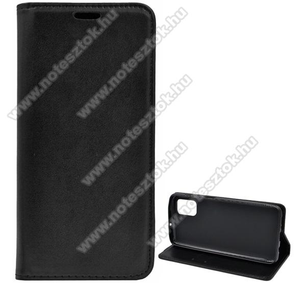 Notesz tok / flip tok - FEKETE - asztali tartó funkciós, oldalra nyíló, szilikon belső - SAMSUNG Galaxy M51 (SM-M515F)