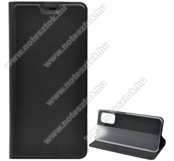 Notesz tok / flip tok - FEKETE - asztali tartó funkciós, oldalra nyíló, műanyag belső - SAMSUNG SM-A326 Galaxy A32 5G