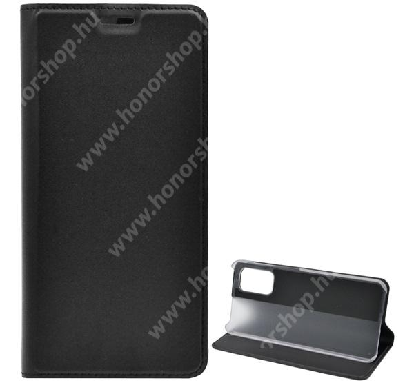 Notesz tok / flip tok - FEKETE - asztali tartó funkciós, oldalra nyíló, műanyag belső - SAMSUNG Galaxy A32 5G (SM-A326B)