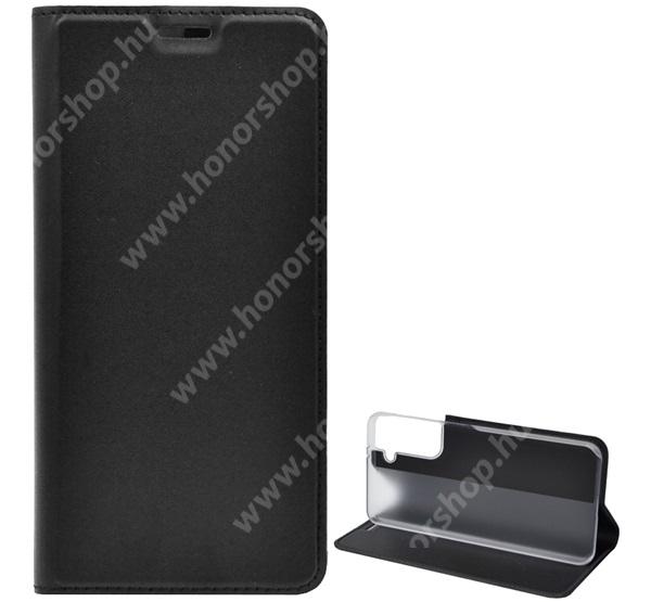 Notesz tok / flip tok - FEKETE - asztali tartó funkciós, oldalra nyíló, műanyag belső - SAMSUNG Galaxy S21 5G (SM-G991B/SM-G991B/DS)