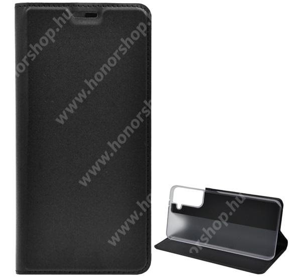 Notesz tok / flip tok - FEKETE - asztali tartó funkciós, oldalra nyíló, műanyag belső - SAMSUNG Galaxy S21 Plus 5G (SM-G996B/SM-G996B/DS)